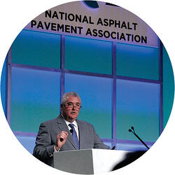 John Keating accepting National Asphalt Pavement Association (NAPA) Man of the Year award