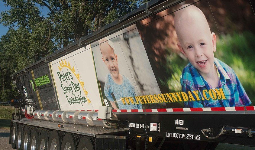 peter's sunny day foundation ad on side of truck