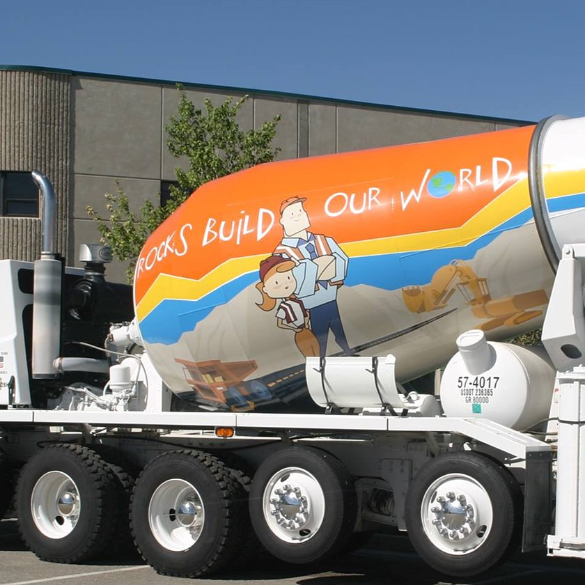 rocks build our world ad on side of cement truck